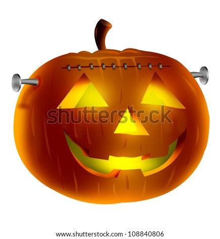 Halloween Pumpkin  Vampire Concept  illustration with Glowing Eyes. Concept Isolated in white background.