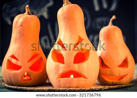 Halloween pumpkin,vintage filter,soft focus - stock photo