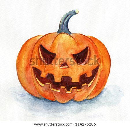 Halloween pumpkin. Watercolor painting. Handmade art. - stock photo