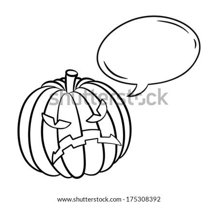Halloween pumpkin with bubble speech  - stock photo