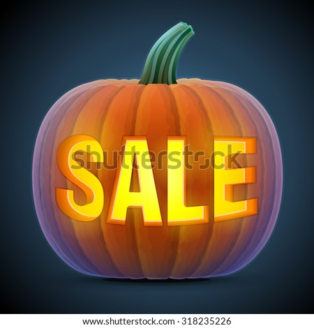 Halloween pumpkin with carving. Jack-o-lantern with word SALE. Qualitative illustration for sale, vegetables, halloween, agriculture, discount, autumn holidays, olericulture, etc - stock photo