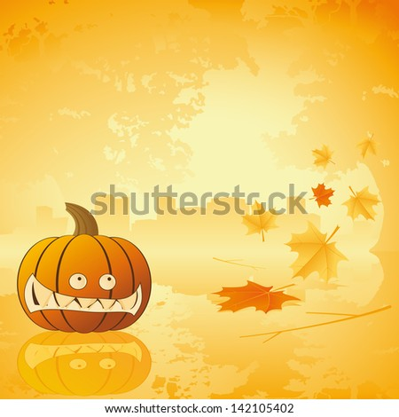 Halloween pumpkin with leafs Abstract holiday background illustration