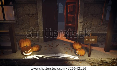 Halloween pumpkins and Welcome sign on the doorstep of the spooky house at night. Top view. Realistic 3D illustration was done from my own 3D rendering file. - stock photo