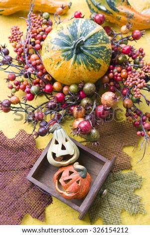 Halloween pumpkins background - stock photo