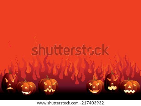 Halloween pumpkins. Background of many glowing halloween pumpkins on  abstract fire - stock photo