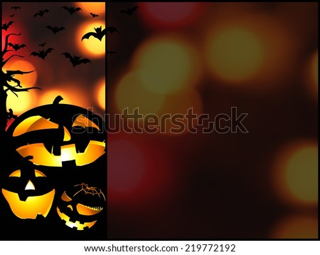 halloween pumpkins background with place for text - stock photo