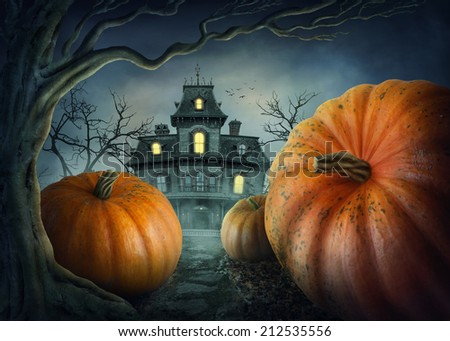Halloween pumpkins in the forest - stock photo