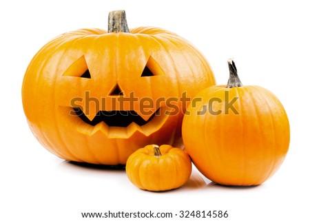 halloween pumpkins isolated - stock photo