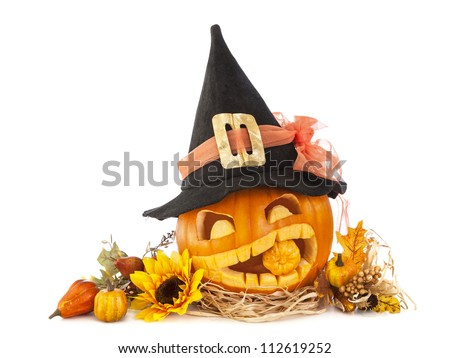 Halloween pumpkins isolated on white background - stock photo