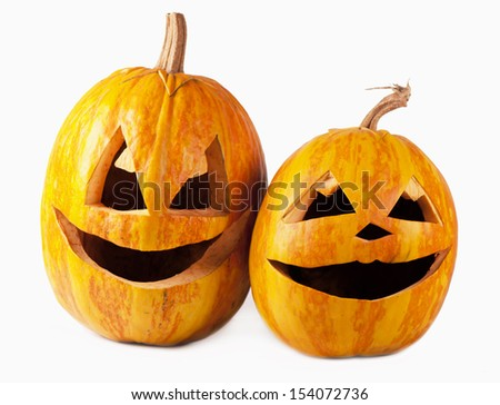 Halloween pumpkins isolated on white background