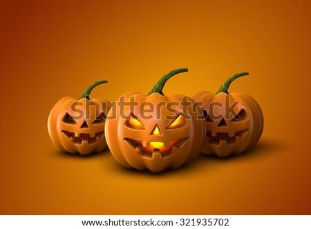 Halloween Pumpkins. Jack Lanterns. Holiday Illustration Of Realistic Pumpkin - stock photo