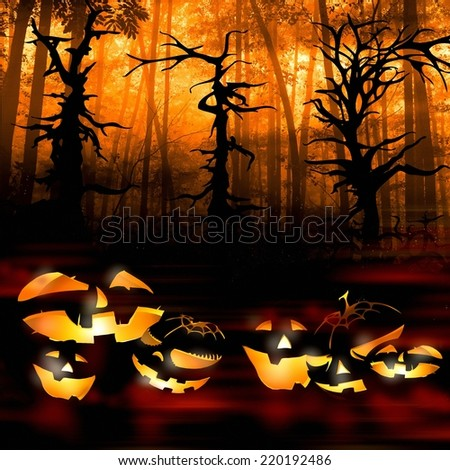 halloween pumpkins on the background of a dark forest illustration - stock photo