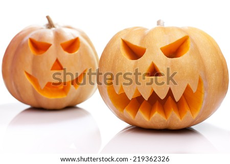 Halloween pumpkins scare and funny isolated on white