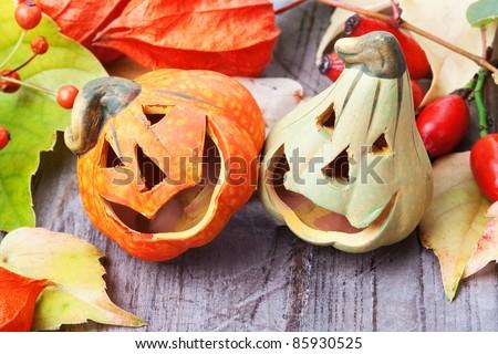 Halloween pumpkins, still life. - stock photo