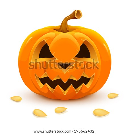 Halloween raster pumpkin isolated on white background. - stock photo