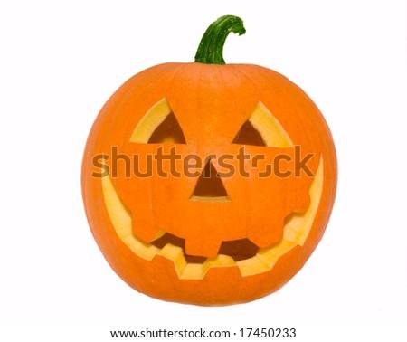 Halloween's orange pumpkin over white - stock photo