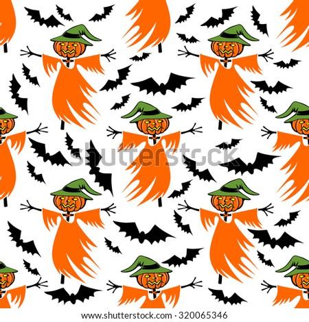Halloween scarecrow on a white background. Seamless pattern. - stock photo