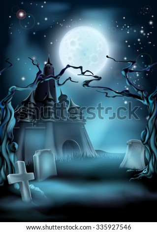 Halloween scary castle graveyard background with a spooky haunted castle, spooky trees and graves and a full moon - stock photo