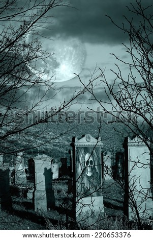 Halloween scary composition with old cemetery - stock photo