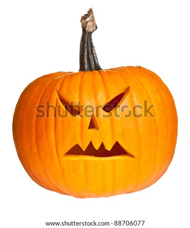Halloween scary jack'o'lantern pumpkin face isolated on white