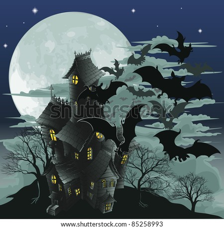 Halloween scene. Illustration of a spooky haunted ghost house with bats flying out of it against the moon.