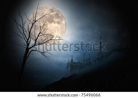 Halloween scenery with full moon, cloudy sky, naked tree, and cemetery (digital grain added)