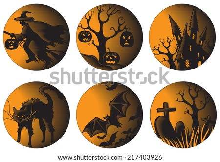 Halloween set. Six halloween pictures at engraving style  - stock photo