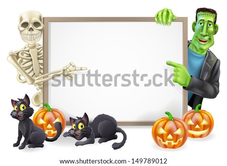 Halloween sign or banner with orange Halloween pumpkins and black witch's cats, witch's broomstick and cartoon Frankenstein monster and skeleton characters  - stock photo