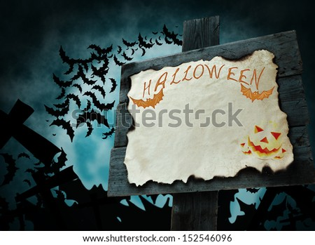 Halloween sign with a blank sheet on the background of the moon. Orange color - stock photo