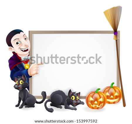 Halloween sign with orange Halloween pumpkins and black witch's cats, witch's broom stick and cartoon Dracula Vampire Character - stock photo