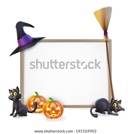 Halloween sign with witches hat, Halloween pumpkin, witches black cat and broom stick and blank sign for your text - stock photo