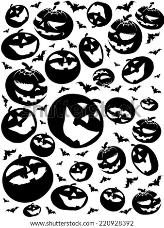 halloween silhouettes, bats and pumpkins isolated on white background - stock photo