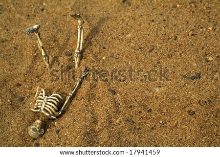 Halloween Skeleton bones buried in the sand - stock photo
