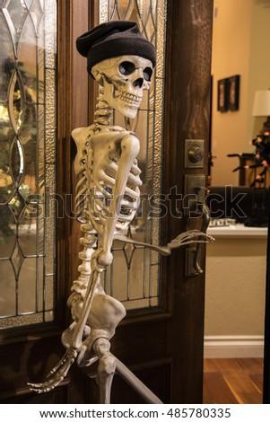 Halloween Skeleton Greeting Door Wearing Knitted Stock Photo (Royalty Free) 485780335 - Shutterstock & Halloween Skeleton Greeting Door Wearing Knitted Stock Photo ...