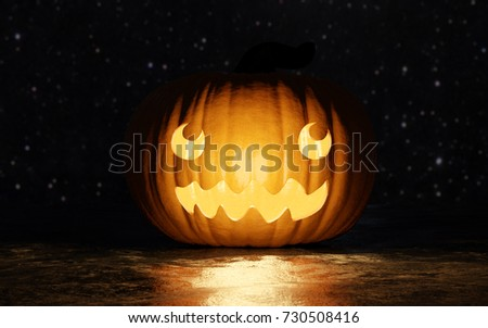 Halloween smiling carved Jack O' Lantern pumpkin on black background and stars. 3D illustration with pumpkin facing the camera.