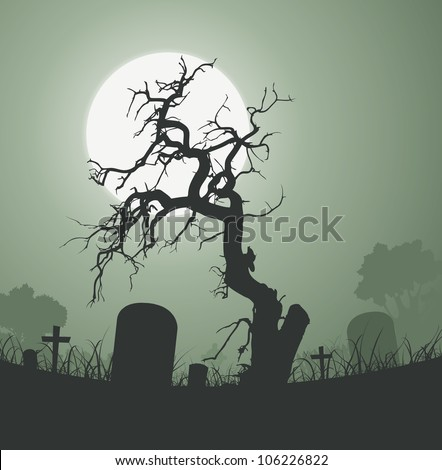 Halloween Spooky Dead Tree In Graveyard/ Illustration of a halloween frightening weird dead tree inside graveyard  with tombstones and a full moon in the background