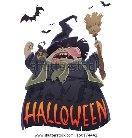 Halloween text and cartoon scary witch with broom and owl yelling - stock photo