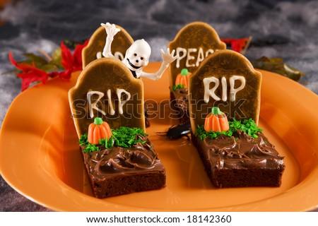 Halloween tombstone brownies - stock photo