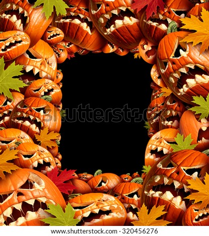 Halloween vertical border frame with empty blank copy space as a group of carved jackolantern pumpkin group and fall leaves as a concept and design element for a creepy advertisement. - stock photo