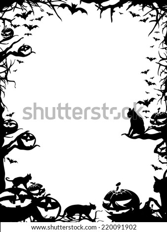Halloween vertical frame border isolated on white - stock photo