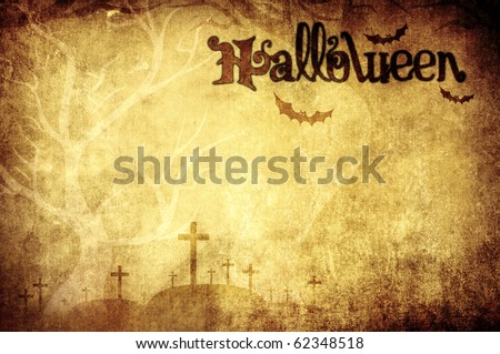 halloween vintage background with title - stock photo