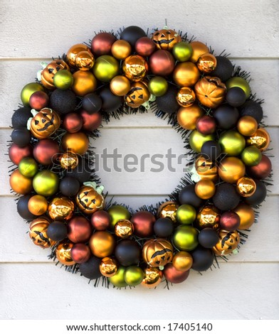 Halloween welcome wreath - stock photo