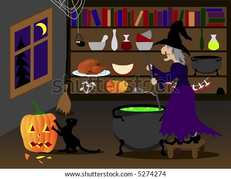 Halloween witch, cat and pumpkin - stock photo