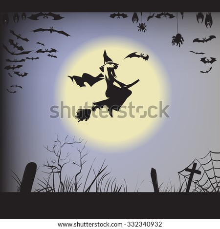 Halloween witch on a broomstick flying, silhouette,  illustration of a bat, spider, web, graves, bat hanging upside down in flight, label printing and office decoration, crafts, pattern cutting