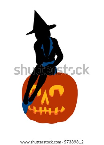 Halloween witch silhouette illustration on a white background