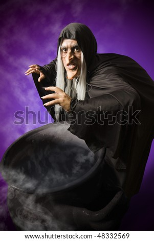 Halloween witch with her cauldron - stock photo