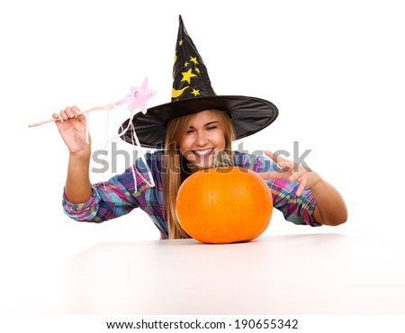 halloween, witch woman with pumpkin, smiling, white background
