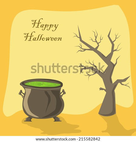 Halloween witches cauldron with green potion and tree on orange background, illustration. - stock photo