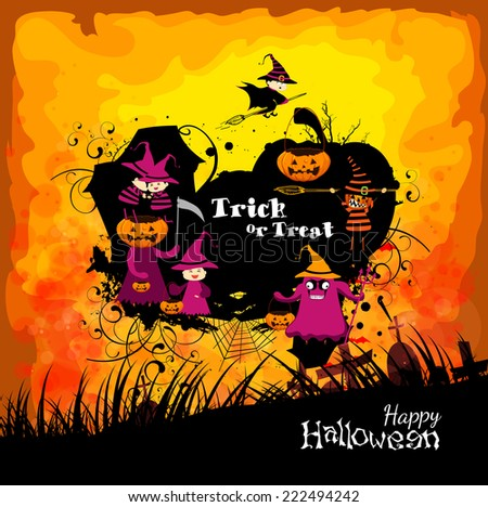Halloween with children trick or treating - stock photo