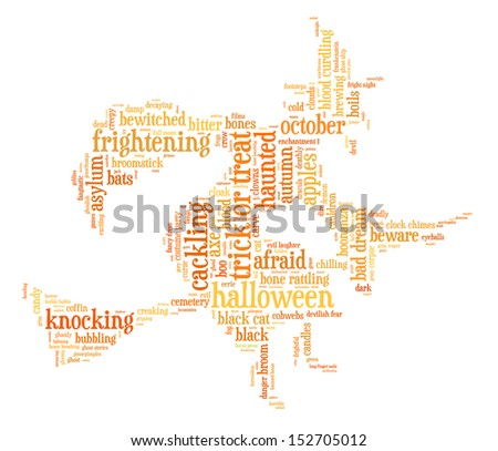 Halloween word cloud illustration in shape of a witch on a broomstick on white background with words related to halloween - witch, trick or treat, candy, pumpkin, halloween, knocking and similar - stock photo